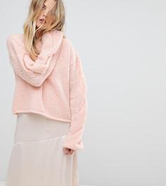 Джемпер ручной вязки с косами на рукавах OneOn - Розовый