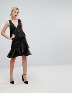 Премиум-юбка с асимметричной оборкой Closet London - Черный