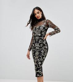 Платье миди с высоким воротником и пайетками Lipsy - Черный