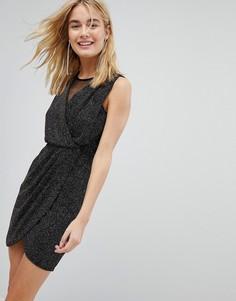 Блестящее платье с запахом New Look - Черный