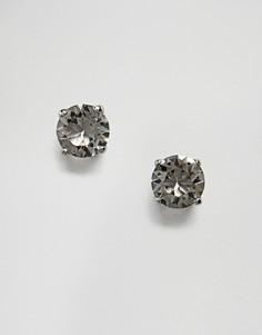 Круглые серьги-гвоздики с черными кристаллами Swarovski от Simon Carter - Черный