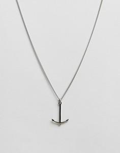 Ожерелье из нержавеющей стали с якорем Simon Carter - Серебряный