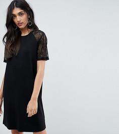Платье-футболка с кружевными рукавами реглан ASOS TALL - Черный