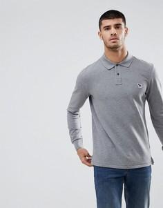 Серый меланжевый лонгслив-поло с логотипом PS Paul Smith - Серый