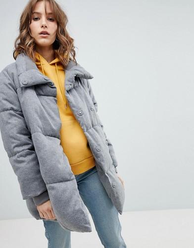 Стеганое утепленное пальто New Look - Серый