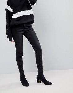 Черные джинсы скинни с отделкой New Look - Черный