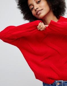 Вязаный джемпер с косами New Look - Красный