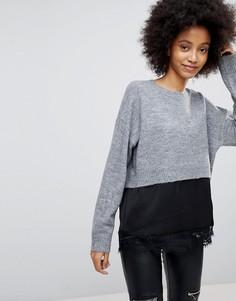 Джемпер 2 в 1 с атласной и кружевной вставками New Look - Серый