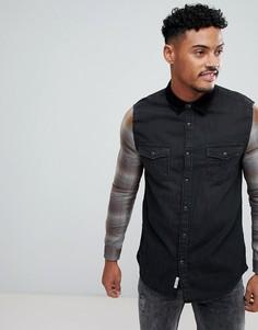 Черная джинсовая рубашка с клетчатыми рукавами River Island - Черный