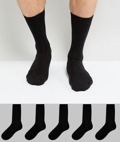 Набор из 5 пар черных носков New Look - Черный