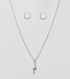 Серебряные серьги-кольца и ожерелье с подвеской-молнией ASOS - Серебряный