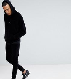 Черный велюровый спортивный костюм с оversize-худи и джоггерами скинни ASOS TALL - Черный