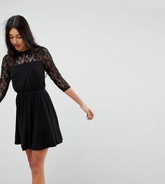Свободное платье мини с кружевными рукавами ASOS TALL - Черный