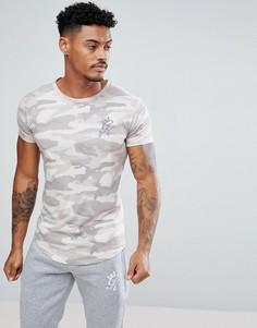 Светло-бежевая обтягивающая футболка с камуфляжным принтом Gym King - Светло-бежевый