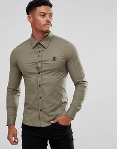 Обтягивающая рубашка цвета хаки Gym King - Зеленый