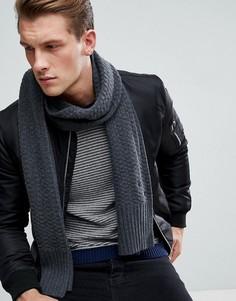 Темно-серый фактурный вязаный шарф Tommy Hilfiger - Серый
