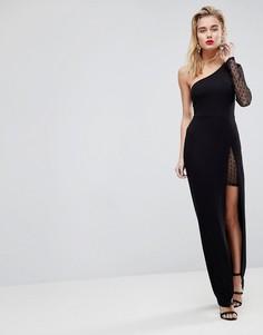 Платье макси на одно плечо с сетчатой вставкой ASOS - Черный