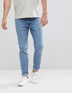 Выбеленные светлые джинсы узкого кроя в стиле ретро Dr Denim Clark - Синий
