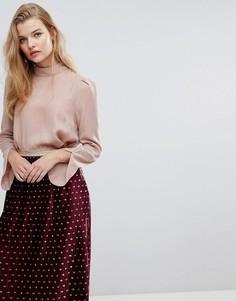 Блузка с высоким воротом Y.A.S - Розовый