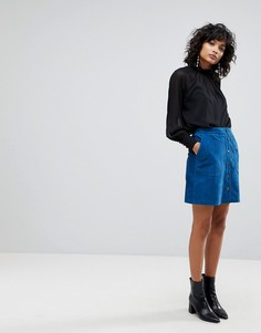 Замшевая мини-юбка с пуговицами спереди Y.A.S - Синий
