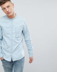 Голубая выбеленная джинсовая рубашка с воротником на пуговице New Look - Синий