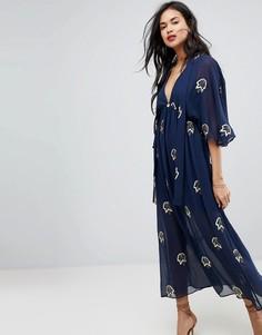 Платье миди с вышитыми листиками Stevie May - Синий