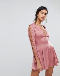 Блестящее платье мини с вырезами Finders - Розовый