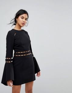 Платье мини с расклешенными рукавами Finders Solar - Черный