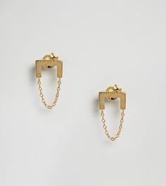 Позолоченные серебряные серьги-подвески с цепочками ASOS - Золотой