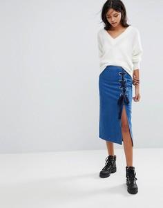 Джинсовая юбка с завязками Gestuz - Синий