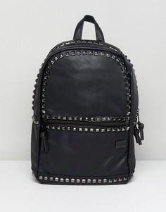 Рюкзак из искусственной кожи с отделкой заклепками Spiral Luxe - Черный