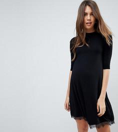 Свободное трикотажное платье с кружевной отделкой New Look Maternity - Черный