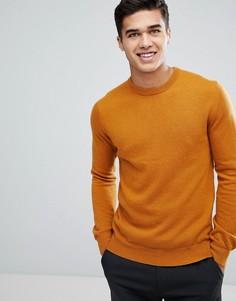 Вязаный джемпер из овечьей шерсти с круглым вырезом Moss London - Оранжевый