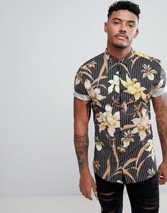 Черная обтягивающая рубашка в тонкую полоску с цветочным принтом River Island - Черный