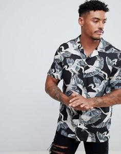 Черная рубашка с принтом лебедей River Island - Черный
