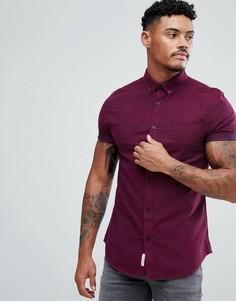 Бордовая оксфордская рубашка узкого кроя River Island - Красный