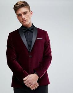 Бордовый бархатный облегающий блейзер Burton Menswear - Золотой