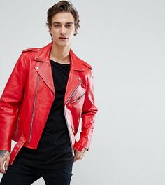 Кожаная байкерская куртка Reclaimed Vintage Inspired - Красный