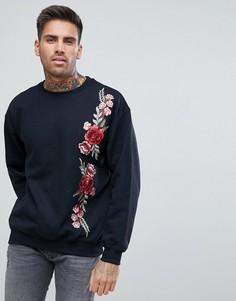 Черный свитер с цветочной вышивкой boohooMAN - Черный