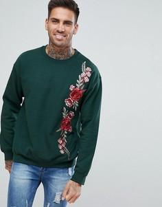 Свитер цвета хаки с цветочной вышивкой boohooMAN - Зеленый