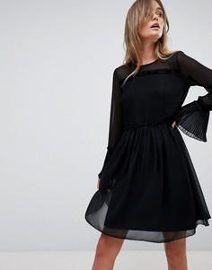 Сетчатое платье мини с оборками Vila - Черный