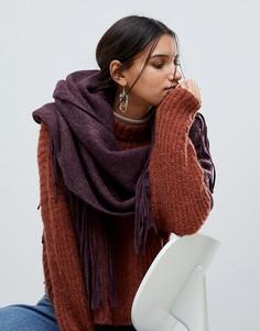 Длинный шарф с кисточками Pieces - Красный