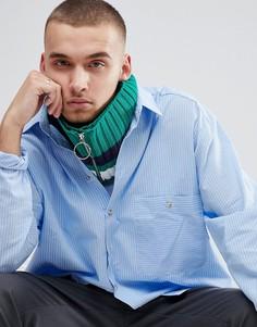 Зеленый вязаный шарф-снуд с полоской и кольцом на бегунке молнии ASOS - Зеленый