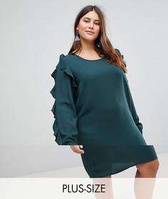 Платье с оборками на рукавах Junarose - Зеленый