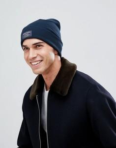 Темно-синяя шапка-бини в рубчик с отворотом и логотипом Abercrombie & Fitch - Темно-синий