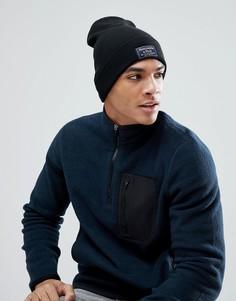 Черная шапка-бини в рубчик с отворотом и логотипом Abercrombie & Fitch - Черный