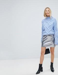 Мини-юбка из кожзаменителя с эффектом металлик Only - Серый