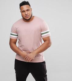Удлиненная футболка с полосками на рукавах Only & Sons PLUS - Розовый