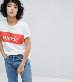 Футболка бойфренда с принтом Merde Adolescent Clothing - Белый