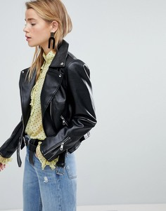 Байкерская куртка из искусственной кожи New Look - Черный